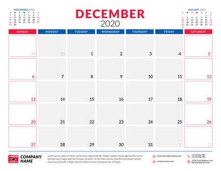December 2020. Calendar planner stationery design template. Vector illustration. Week starts on Sunday