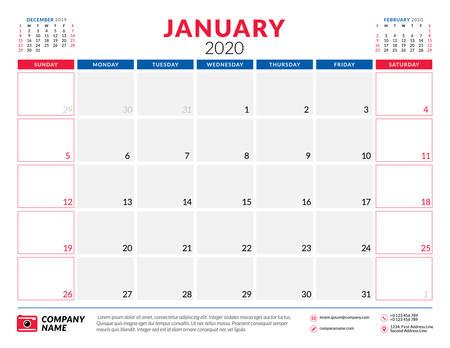 January 2020. Calendar planner stationery design template. Vector illustration. Week starts on Sunday