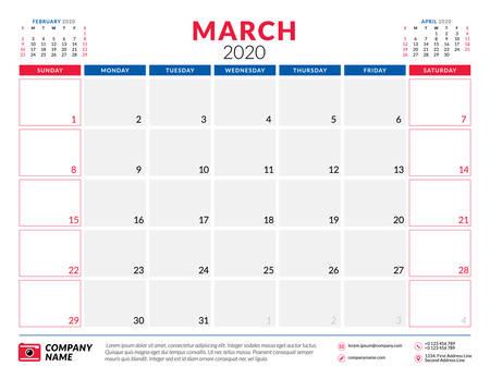 March 2020. Calendar planner stationery design template. Vector illustration. Week starts on Sunday Illustration
