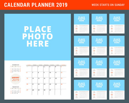 Wall calendar planner template for 2019 year. Week starts on Sunday. Vector illustration. Stationery print design. Set of 12 months