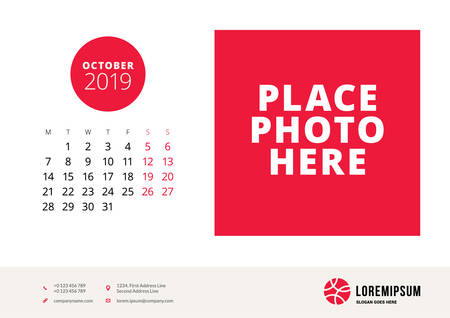 October 2019. Desk calendar design template with place for photo. Week starts on Monday. Vector illustration