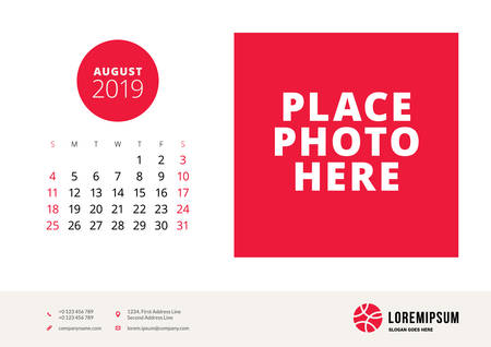 August 2019. Desk calendar design template with place for photo. Week starts on Sunday. Vector illustration