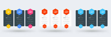 Pricing table design template for websites and applications. Set of three different color variations. Vector pricing plans. Flat style vector illustration  イラスト・ベクター素材
