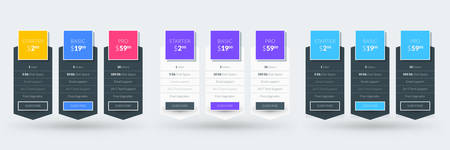 Pricing table design template for websites and applications. Set of three different color variations. Vector pricing plans. Flat style vector illustration Illustration