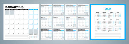 Printable planner and calendar for 2020 year. Week starts on Monday. Set of 12 months. Vector stationery design template