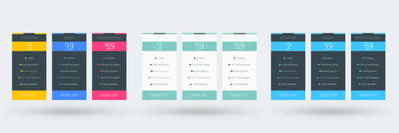 Pricing table color variations. Pricing plans template for websites and applications. Vector illustration