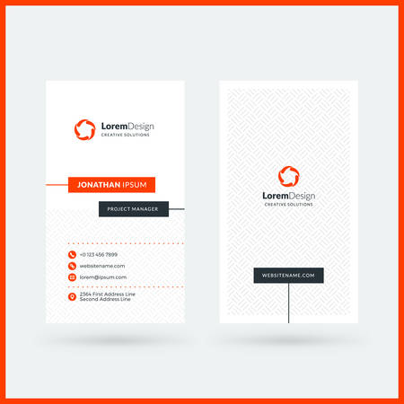 Vertical double-sided black and red modern business card template. Vector illustration. Stationery design