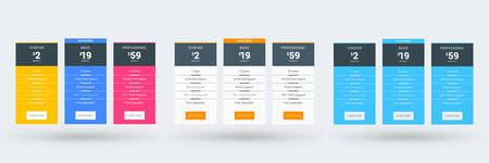Pricing table design template for websites and applications. Set of three different color variations. Vector pricing plans. Flat style vector illustration Stock Illustratie