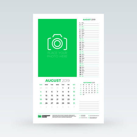 Calendar planner for August 2019. Stationery design template. Vector illustration