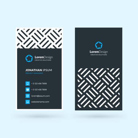 Plantilla de tarjeta de visita moderna negra y azul de doble cara vertical. Ilustración de vector. Diseño de papeleria Ilustración de vector