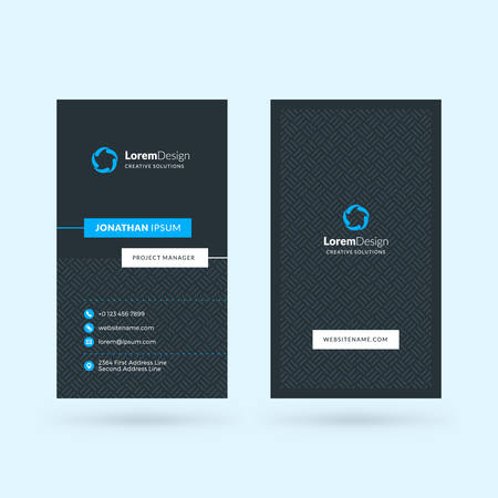 Vertical double-sided black and blue modern business card template. Vector illustration. Stationery design 向量圖像