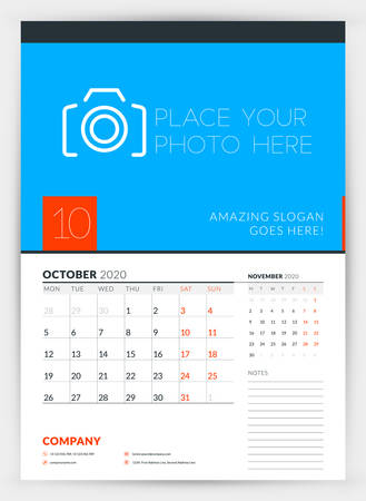 Wall calendar planner template for October 2020. Week starts on Monday. Typographic design template. Vector illustration