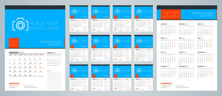 Wall calendar template for 2020 year. Week starts on Monday. Vector illustration Иллюстрация
