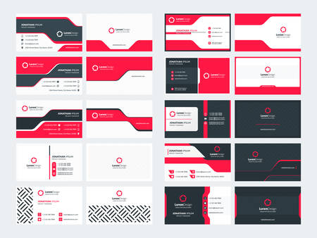 Set of 10 double sided business card templates. Red color theme. Stationery design. Vector illustration Иллюстрация