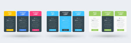 Pricing table design template. Vector pricing plans. Vector illustration