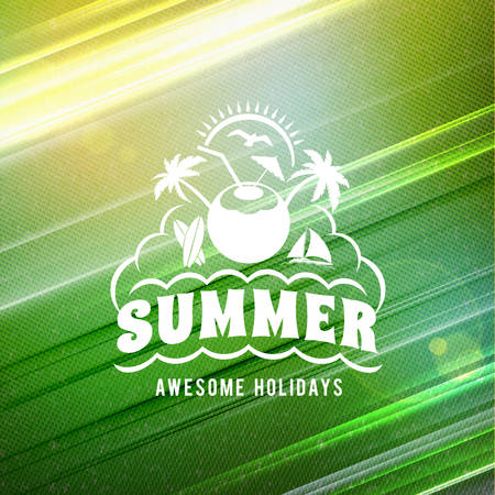 Summer holidays poster. Typographic summer badge on the colorful retro background. Vector illustration Banco de Imagens - 127925768