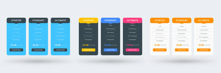 Pricing table color variations. Pricing plans template for websites and applications. Vector illustration Иллюстрация