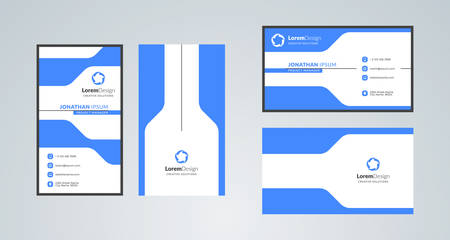 Double-sided creative business card template. Portrait and landscape orientation. Horizontal and vertical layout. Vector illustration