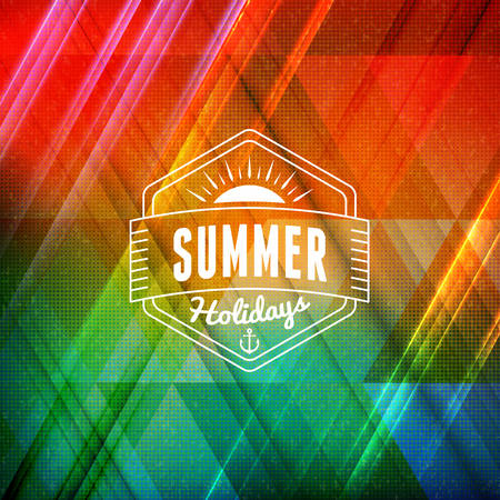 Summer holidays poster. Typographic summer badge on the colorful retro background. Vector illustration