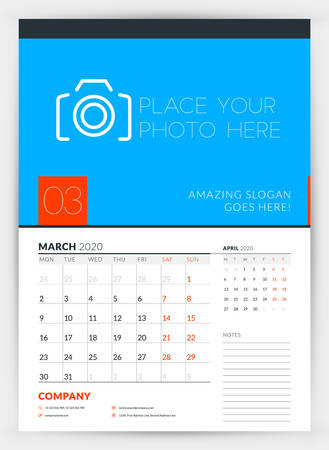 Wall calendar planner template for March 2020. Week starts on Monday. Typographic design template. Vector illustration
