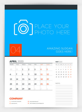 Wall calendar planner template for April 2020. Week starts on Monday. Typographic design template. Vector illustration
