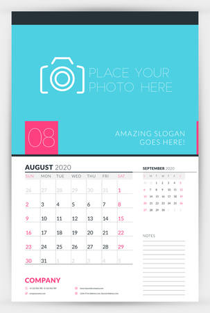 Wall calendar planner template for August 2020. Week starts on Sunday. Typographic design template. Vector illustration