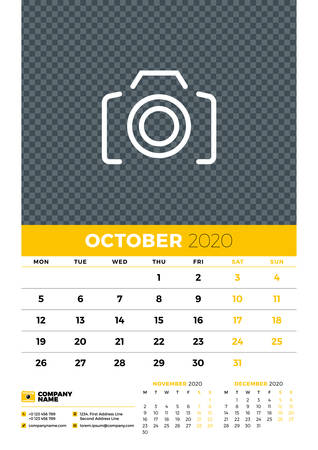 Wall calendar planner template for October 2020. Week starts on Monday. Typographic design template. Yellow and black color theme. Vector illustration