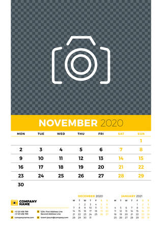 Wall calendar planner template for November 2020. Week starts on Monday. Typographic design template. Yellow and black color theme. Vector illustration