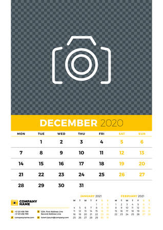 Wall calendar planner template for December 2020. Week starts on Monday. Typographic design template. Yellow and black color theme. Vector illustration Иллюстрация