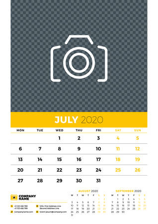 Wall calendar planner template for July 2020. Week starts on Monday. Typographic design template. Yellow and black color theme. Vector illustration