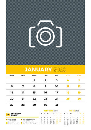 Wall calendar planner template for January 2020. Week starts on Monday. Typographic design template. Yellow and black color theme. Vector illustration