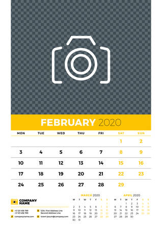 Wall calendar planner template for February 2020. Week starts on Monday. Typographic design template. Yellow and black color theme. Vector illustration