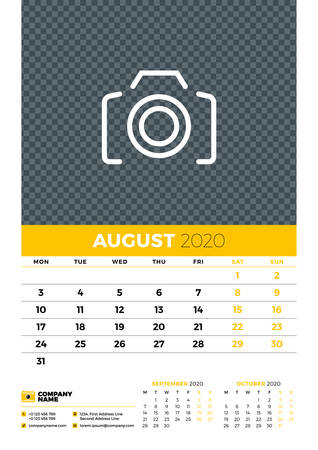 Wall calendar planner template for August 2020. Week starts on Monday. Typographic design template. Yellow and black color theme. Vector illustration