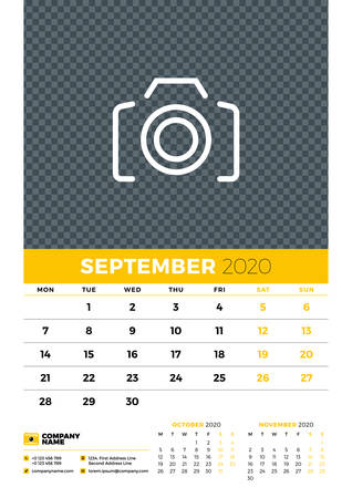 Wall calendar planner template for September 2020. Week starts on Monday. Typographic design template. Yellow and black color theme. Vector illustration