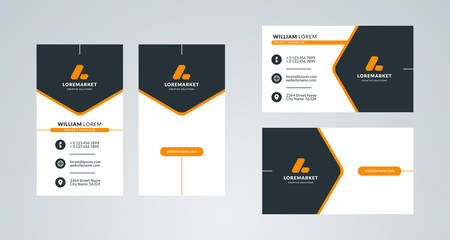 Business card template. Portrait and landscape layout. Front and back side. Vector illustration 向量圖像