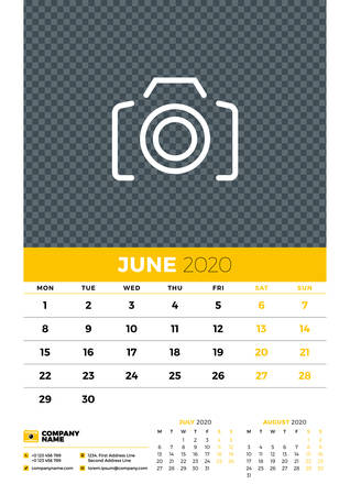 Wall calendar planner template for June 2020. Week starts on Monday. Typographic design template. Yellow and black color theme. Vector illustration