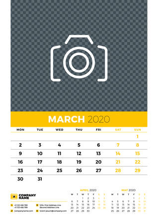 Wall calendar planner template for March 2020. Week starts on Monday. Typographic design template. Yellow and black color theme. Vector illustration