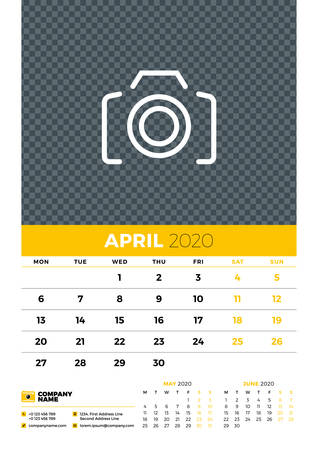 Wall calendar planner template for April 2020. Week starts on Monday. Typographic design template. Yellow and black color theme. Vector illustration Иллюстрация