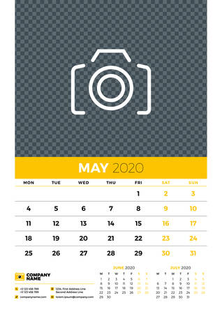 Wall calendar planner template for May 2020. Week starts on Monday. Typographic design template. Yellow and black color theme. Vector illustration
