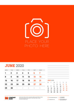 Wall calendar planner template for June 2020. Week starts on Monday. Typographic design template. Red and black color theme. Vector illustration Illusztráció