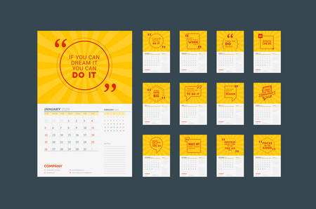 Wall calendar planner template for 2020. Vector design print template with typographic motivational quote. Set of 12 months. Week starts on Sunday
