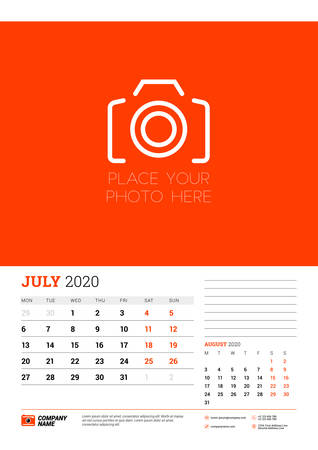 Wall calendar planner template for July 2020. Week starts on Monday. Typographic design template. Red and black color theme. Vector illustration Illusztráció