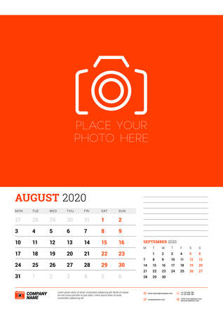 Wall calendar planner template for August 2020. Week starts on Monday. Typographic design template. Red and black color theme. Vector illustration