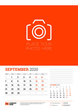 Wall calendar planner template for September 2020. Week starts on Monday. Typographic design template. Red and black color theme. Vector illustration