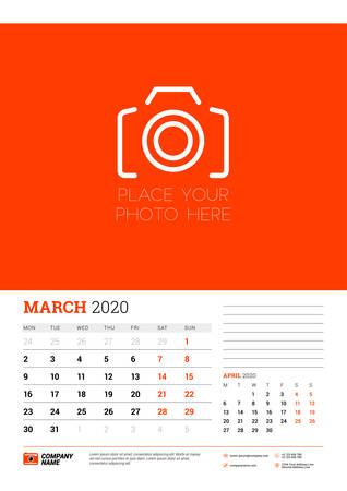 Wall calendar planner template for March 2020. Week starts on Monday. Typographic design template. Red and black color theme. Vector illustration