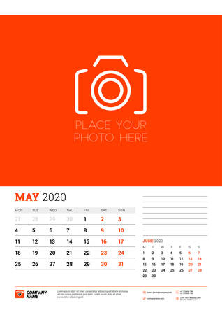 Wall calendar planner template for May 2020. Week starts on Monday. Typographic design template. Red and black color theme. Vector illustration