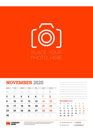 Wall calendar planner template for November 2020. Week starts on Monday. Typographic design template. Red and black color theme. Vector illustration