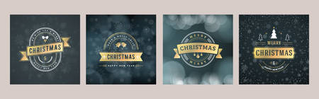 Set of Christmas greeting card templates. Vintage typographic badges, labels. Christmas snowflakes background. Vector Illustration