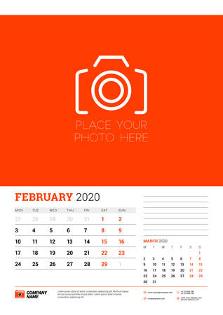 Wall calendar planner template for February 2020. Week starts on Monday. Typographic design template. Red and black color theme. Vector illustration