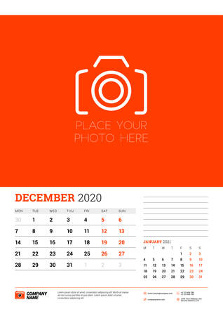 Wall calendar planner template for December 2020. Week starts on Monday. Typographic design template. Red and black color theme. Vector illustration Illusztráció